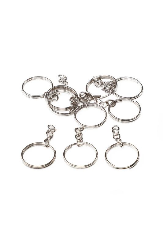 MİR PLASTİK - Zincirli Anahtarlık 5 cm 10 Adet | Gümüş