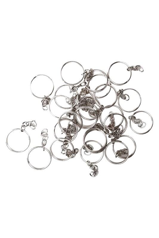 MİR PLASTİK - Zincirli Anahtarlık 5 cm 25 Adet | Gümüş