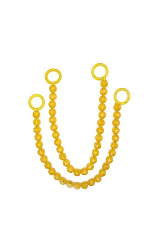 SİMİSSO - İpli Boncuklu Kristal Çanta Sapı | Sarı