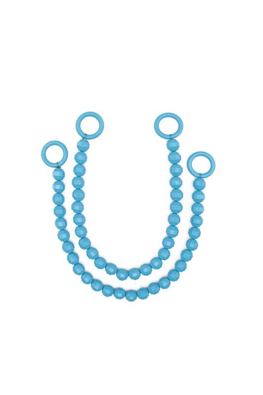 SİMİSSO - İpli Boncuklu Kristal Çanta Sapı | Mavi