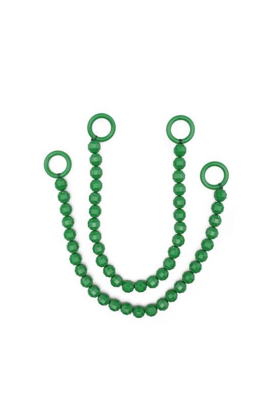 SİMİSSO - İpli Boncuklu Kristal Çanta Sapı | Koyu Yeşil