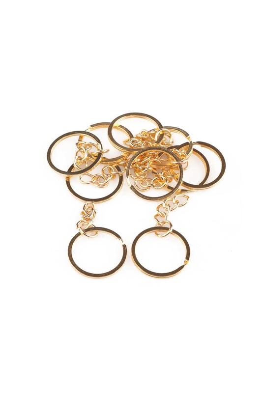 SİMİSSO - Zincirli Anahtarlık Halkası 5 cm 10'lu Altın