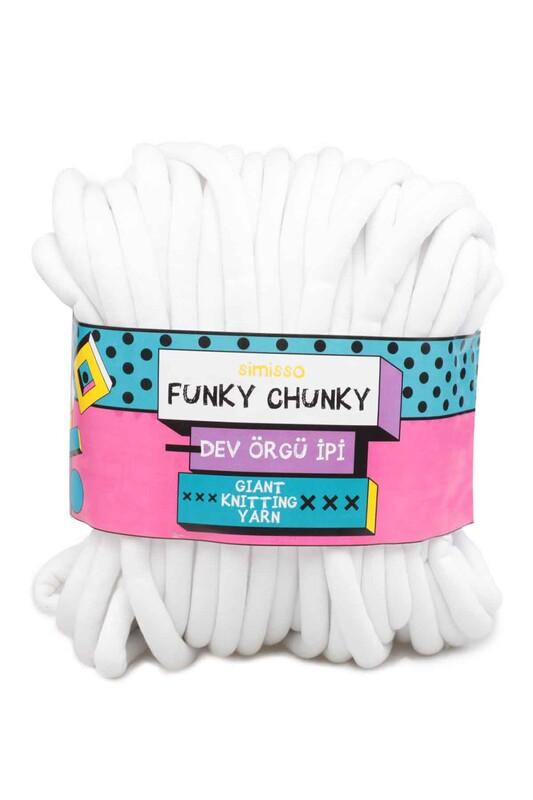 SİMİSSO - Simisso Funky Chunky Dev Örgü İpi Beyaz 306
