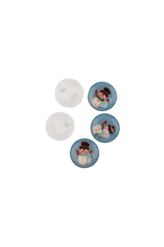 SİMİSSO - Kardan Adam Baskılı Düğme | Mavi