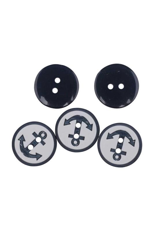 SİMİSSO - Çapa Desenli Düğme 5 Adet Siyah