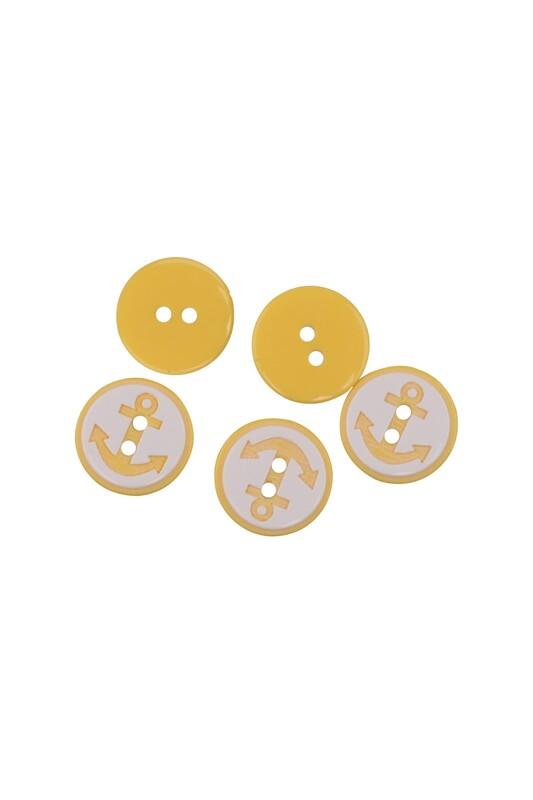 SİMİSSO - Çapa Desenli Düğme 5 Adet Sarı