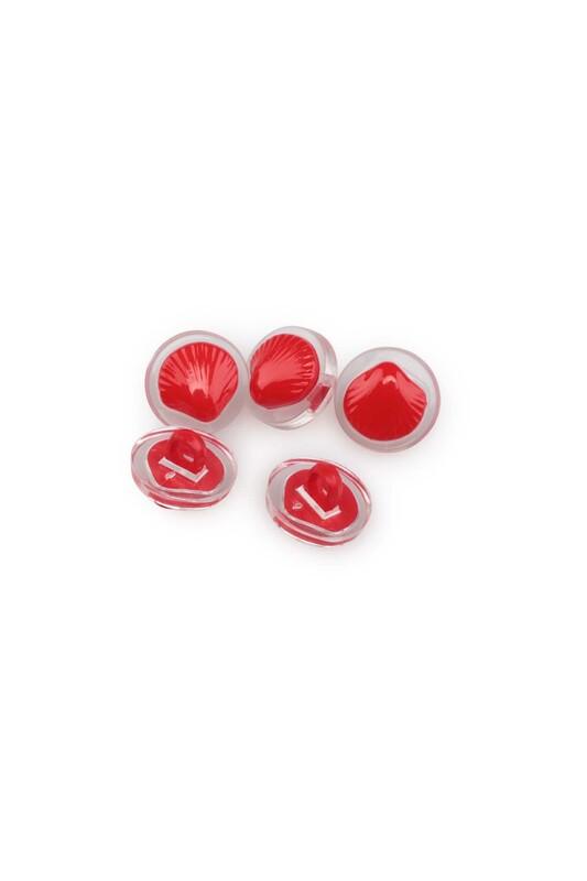 SİMİSSO - Deniz Kabuğu Figürlü Düğme 5 Adet Kırmızı