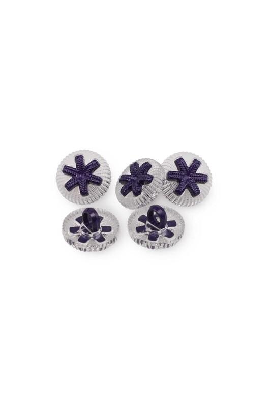 SİMİSSO - Yıldız Figürlü Düğme 5 Adet Lacivert