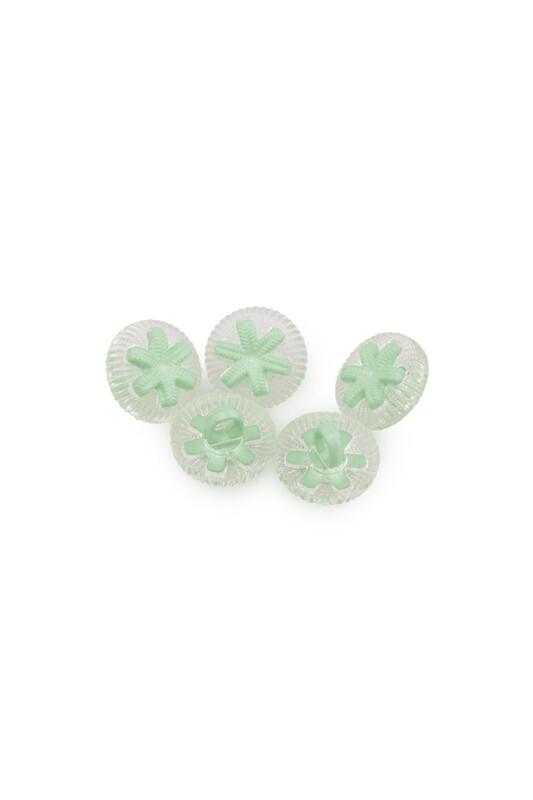 SİMİSSO - Yıldız Figürlü Düğme 5 Adet Yeşil