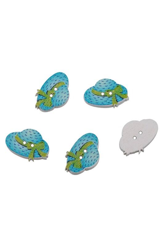 SİMİSSO - Şapka Baskılı Ahşap Düğme 5li Mavi