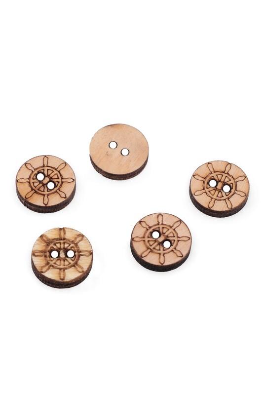SİMİSSO - Dümen Desenli Ahşap Düğme 5'li 15mm