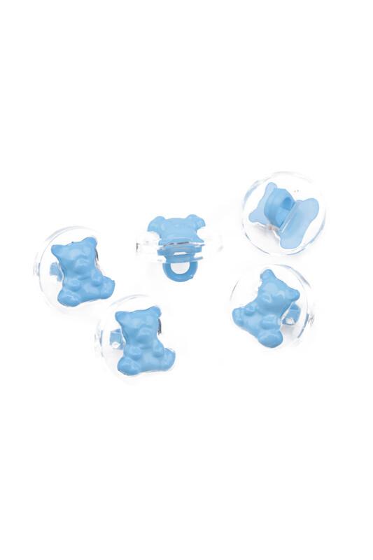 SİMİSSO - Ayıcık Figürlü Düğme 5 li Mavi