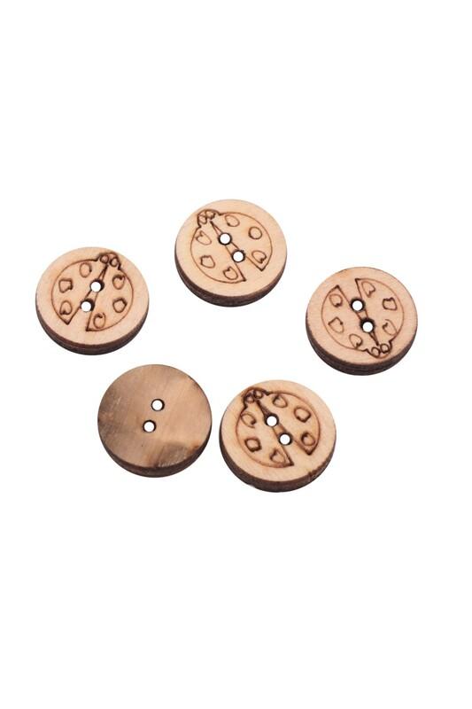 SİMİSSO - Uğur Böceği Desenli Ahşap Düğme 5'li 15mm