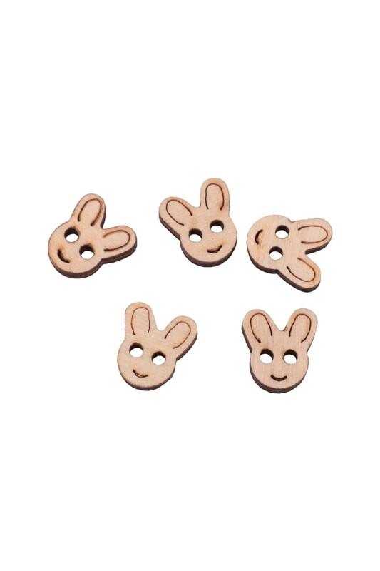 SİMİSSO - Tavşan Şekilli Ahşap Desenli Düğme 5′li 15mm
