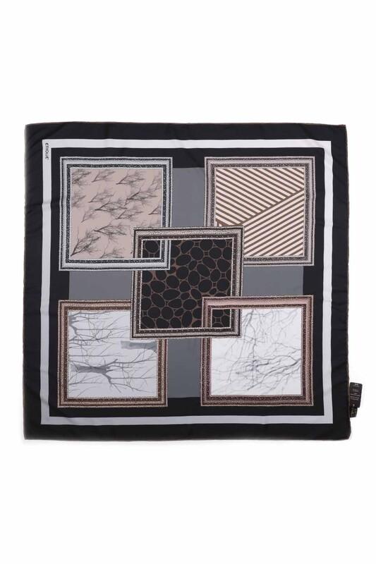 Etholle - Etholle Dijital Baskılı Reyon Eşarp 90x90 cm | Siyah