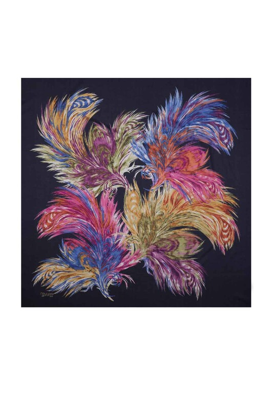 REYYAN - Reyyan Dikişsiz Desenli Yazma 100 cm   Lacivert Renkli