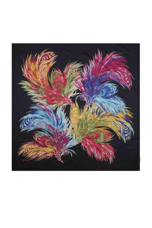 REYYAN - Reyyan Dikişsiz Desenli Yazma 100 cm   Lacivert Sarı