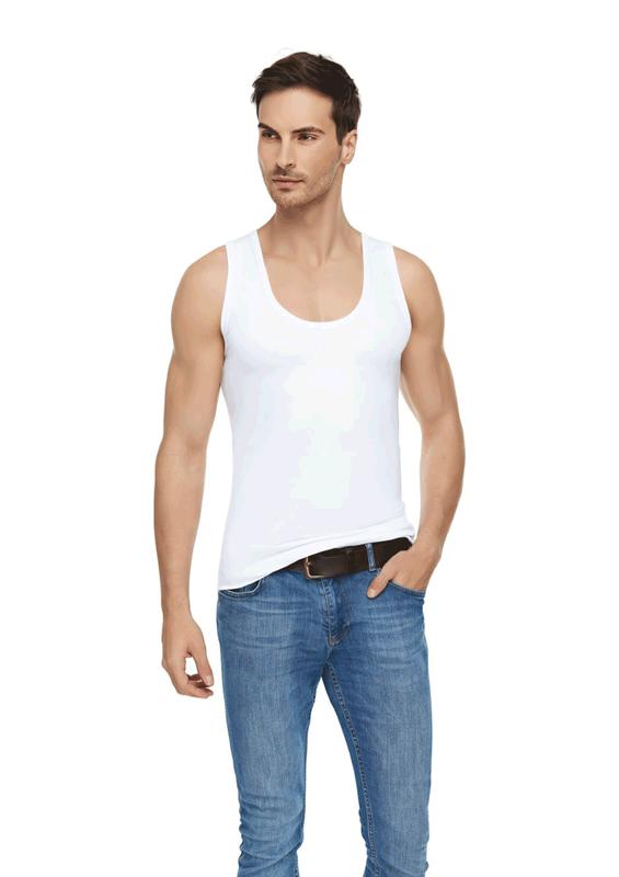TUTKU ELİT - Tutku Elit Modal Elastan Erkek Atlet 1201 | Beyaz