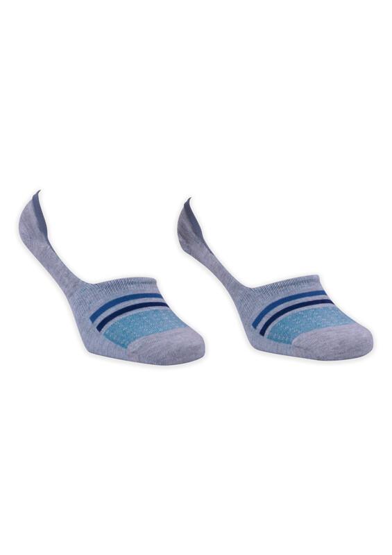 ROFF - Bamboo Çizgili Erkek Babet Çorabı | Gri Mavi