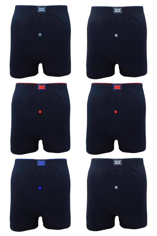 TUTKU - Tutku Penye Düz Boxer 117 6'lı Paket | Lacivert