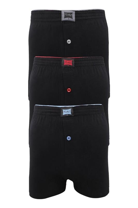 TUTKU - Tutku Penye Düz Boxer 117 3'lü Paket   Siyah