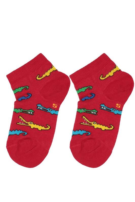 DÜNDAR - Dündar Timsah Desenli Erkek Çocuk Çorap 123 | Kırmızı