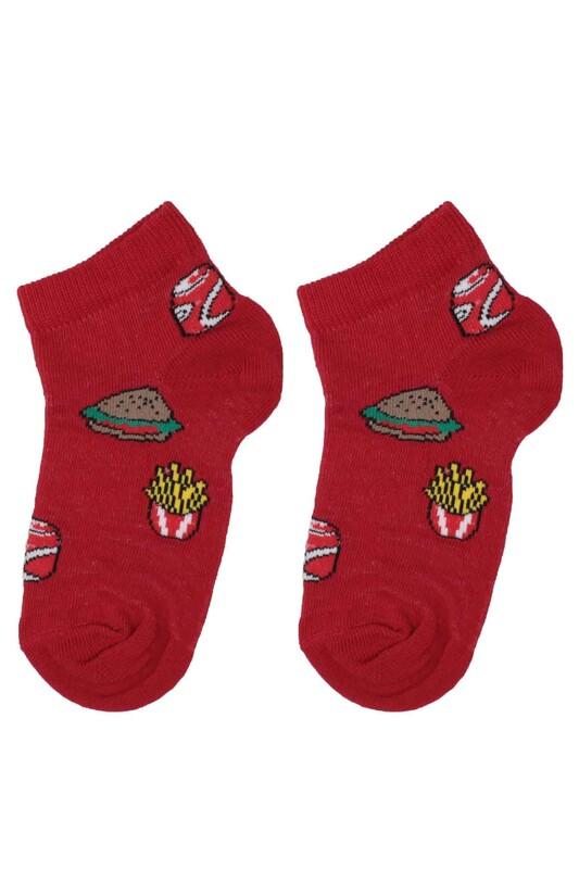 DÜNDAR - Dündar Hamburger Desenli Erkek Çocuk Çorap 124 | Kırmızı