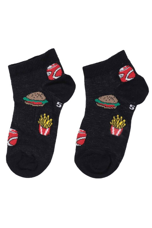 DÜNDAR - Dündar Hamburger Desenli Erkek Çocuk Çorap 124 | Lacivert
