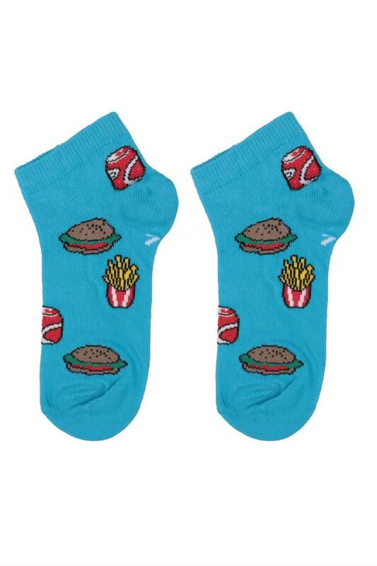 DÜNDAR - Dündar Hamburger Desenli Erkek Çocuk Çorap 124 | Mavi