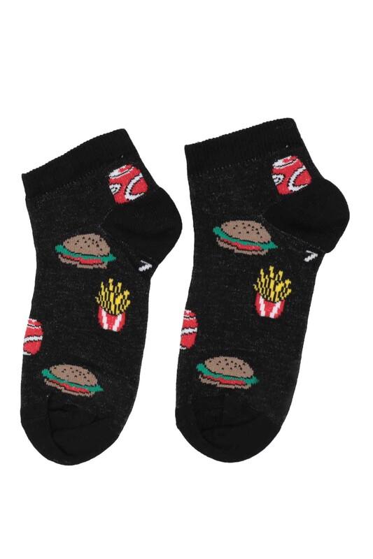DÜNDAR - Dündar Hamburger Desenli Erkek Çocuk Çorap 124 | Siyah