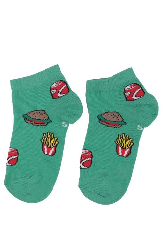 DÜNDAR - Dündar Hamburger Desenli Erkek Çocuk Çorap 124 | Yeşil