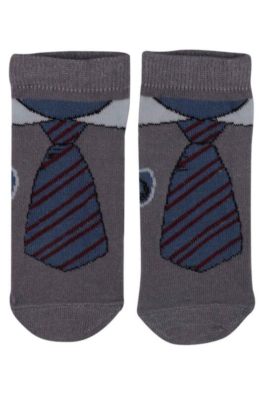 SİMİSSO - Kravat Desenli Erkek Çocuk Çorap | Gri