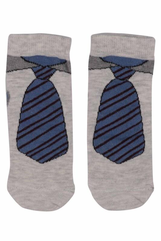 SİMİSSO - Kravat Desenli Erkek Çocuk Çorap | Krem