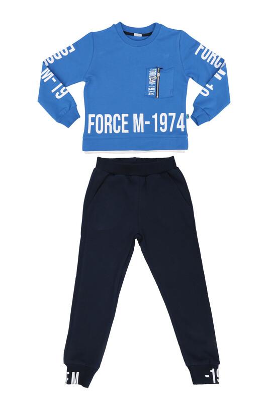 Damla - Damla Fermuarlı Erkek Çocuk Eşofman Takımı 20525 | Mavi