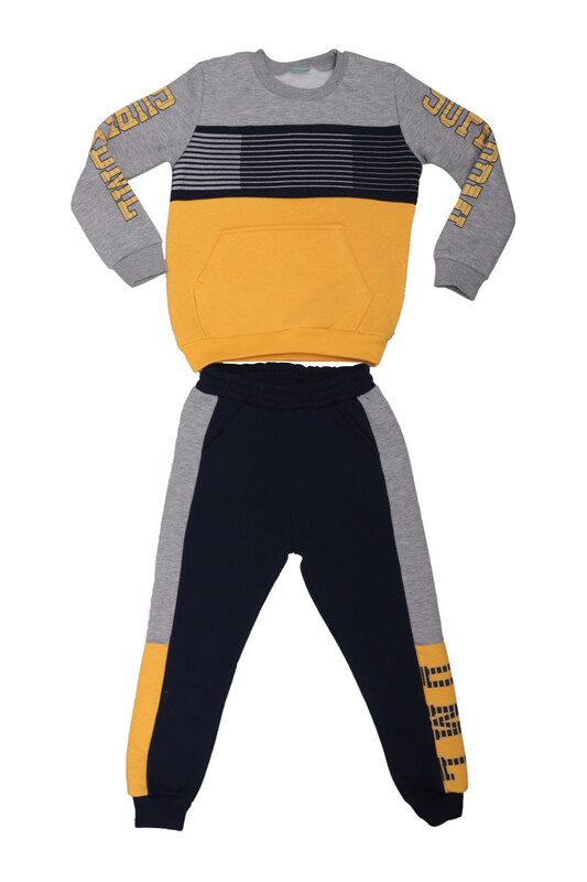 Damla - Çizgili Erkek Çocuk Eşofman Takım 20601 | Sarı