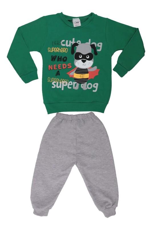 NNK - Köpek Baskılı Erkek Çocuk Eşofman Takım 40894 | Yeşil
