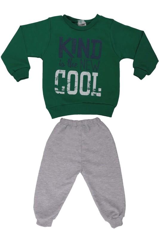 NNK - Yazı Baskılı Erkek Çocuk Eşofman Takım 40896 | Yeşil