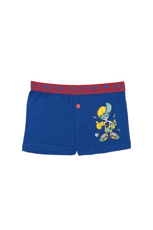 TUTKU - Tutku Baskılı Elastan Erkek Çocuk Boxer 253   Koyu Mavi