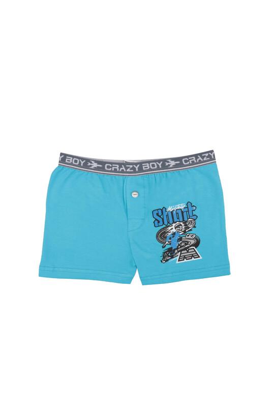 TUTKU - Tutku Yazı Baskılı Elastan Erkek Çocuk Boxer 253   Mavi