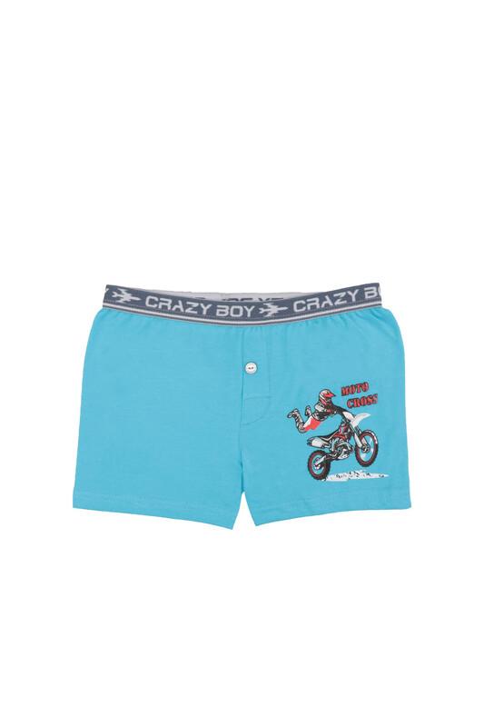 TUTKU - Tutku Motor Baskılı Elastan Erkek Çocuk Boxer 253   Mavi