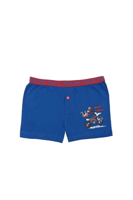 TUTKU - Tutku Motor Baskılı Elastan Erkek Çocuk Boxer 253   Koyu Mavi
