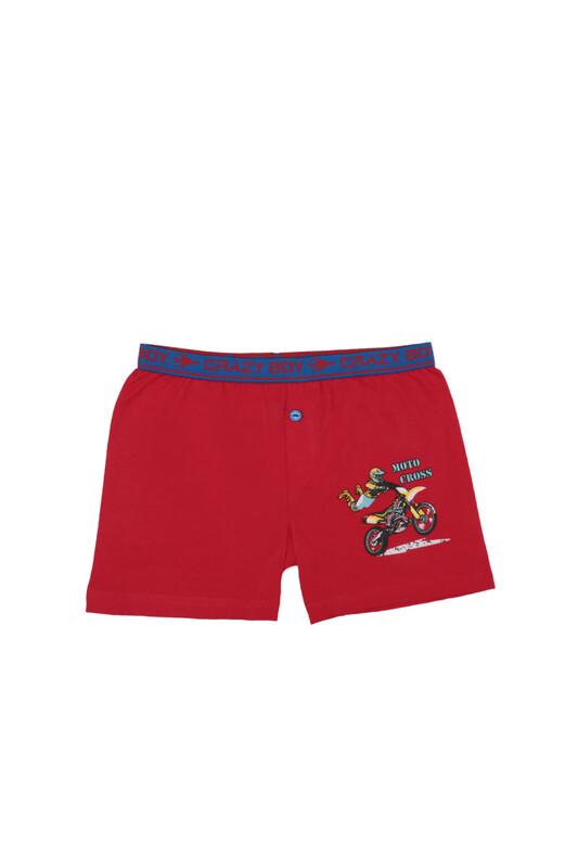 TUTKU - Tutku Motor Baskılı Elastan Erkek Çocuk Boxer 253   Kırmızı
