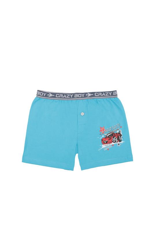 TUTKU - Tutku Araba Baskılı Elastan Erkek Çocuk Boxer 253   Mavi