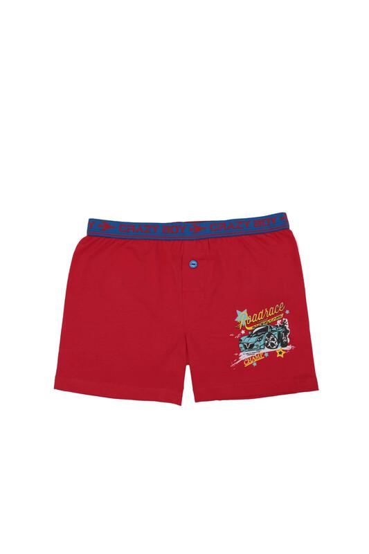 TUTKU - Tutku Araba Baskılı Elastan Erkek Çocuk Boxer 253   Kırmızı
