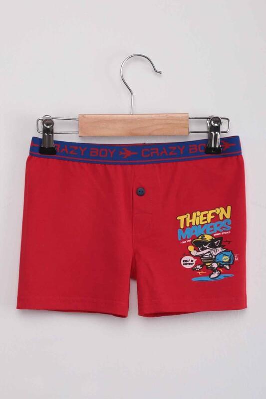 TUTKU - Tutku Thief'n Yazı Baskılı Erkek Çocuk Boxer 253   Kırmızı