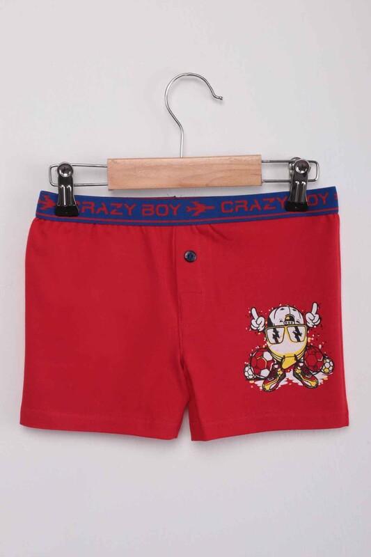 TUTKU - Tutku Top Baskılı Erkek Çocuk Boxer 253   Kırmızı