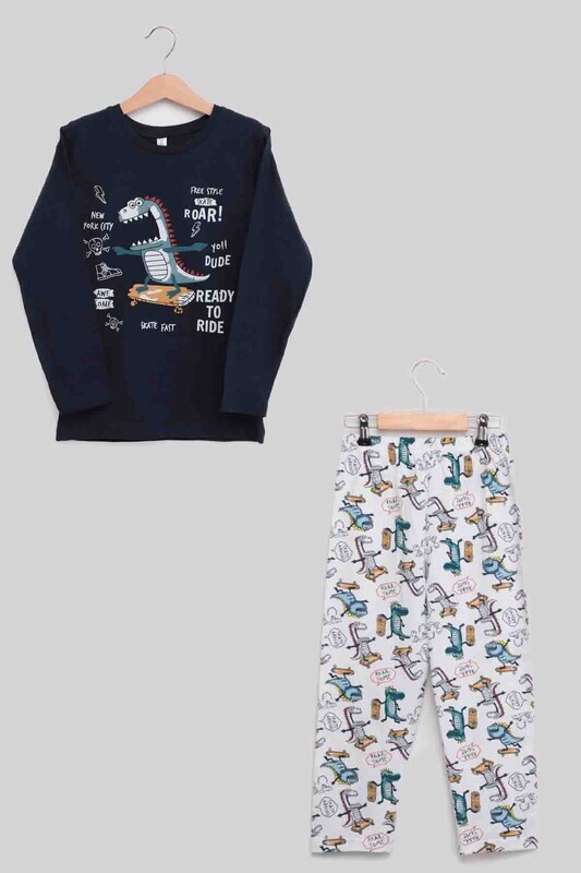 SİMİSSO - Dinazor Baskılı Erkek Çocuk Pijama Takımı | Lacivert