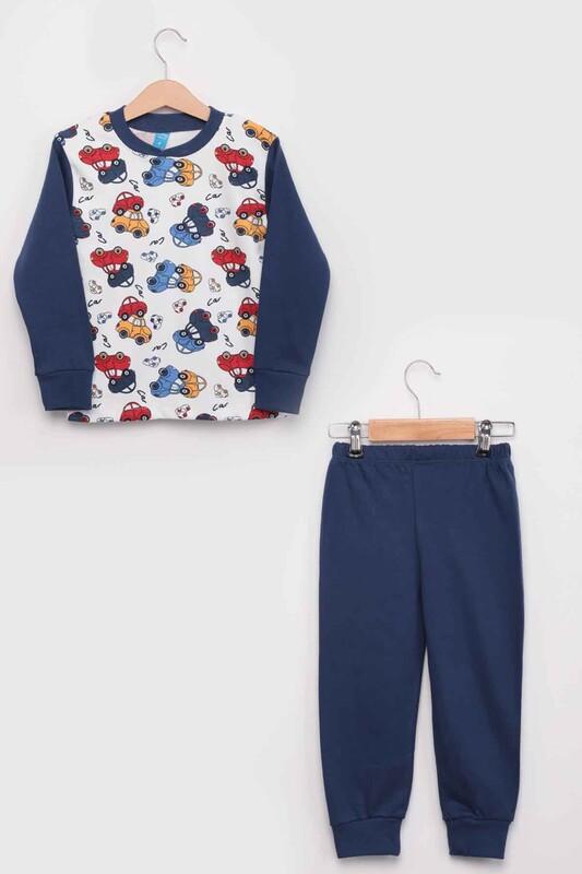 SİMİSSO - Gupse Araba Baskılı Uzun Kol Erkek Çocuk Pijama Takım | Mavi