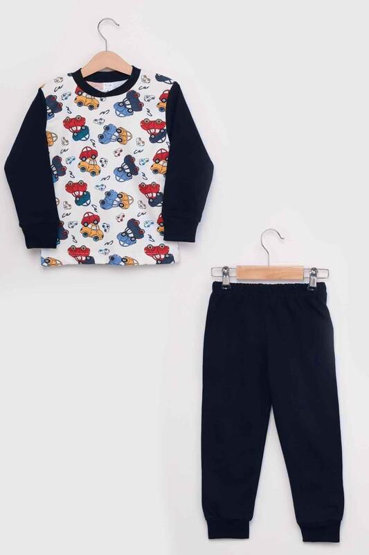 SİMİSSO - Gupse Araba Baskılı Uzun Kol Erkek Çocuk Pijama Takım   Lacivert