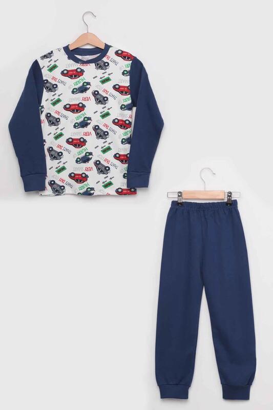 SİMİSSO - Gupse Taxi Baskılı Uzun Kol Erkek Çocuk Pijama Takım | Mavi